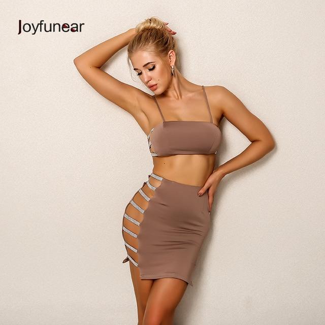 b908424378828 Joyfunear 2018 Newest Two Piece Dress Set Elegant Cropped Top And Skirt  Women Set Sexy Sequin