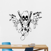 Deadpool Wall Vinyl Decal Marvel Comics Superhero Wall Sticker Video Game Gaming Wall Decor Wall Art