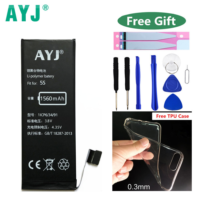 Original AYJ Telefon Batterie Für Apple iphone5s 5c iphone 5 s Bateria Reale Kapazität 1560 mAh ersatzbatterien 0 zyklus mit Werkzeug
