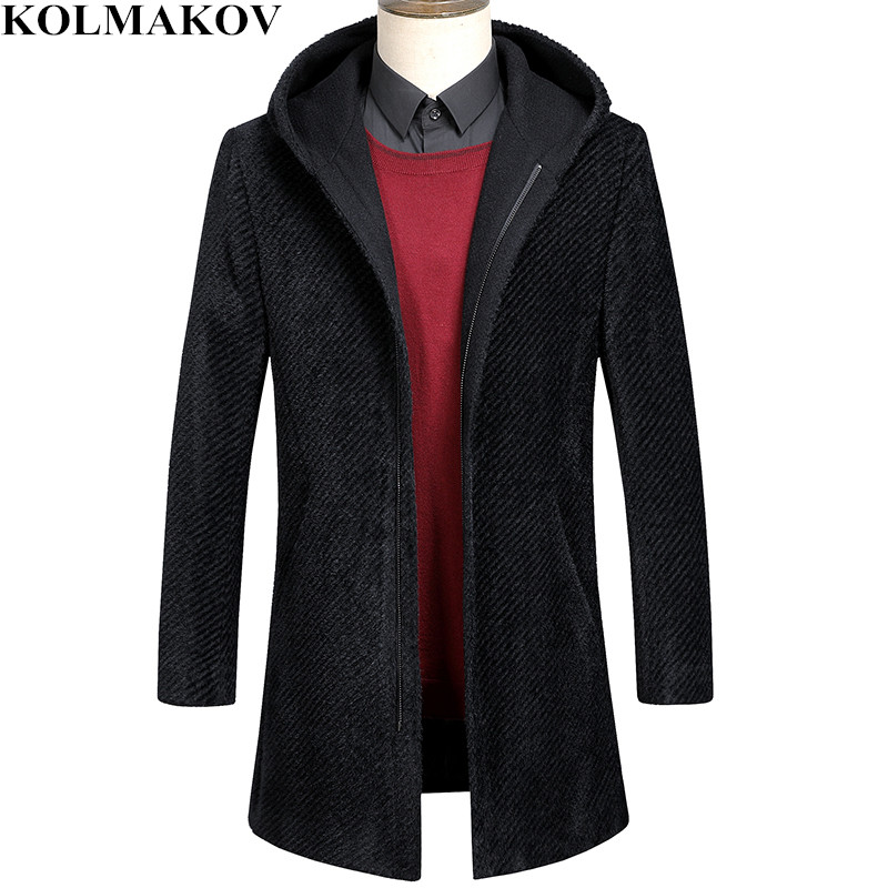 KOLMAKOV New Trench Coat Men Woolen Jacket Homme High Quality Black Business Windbreaker with Zipper Thicken Overcoats Men 3XL