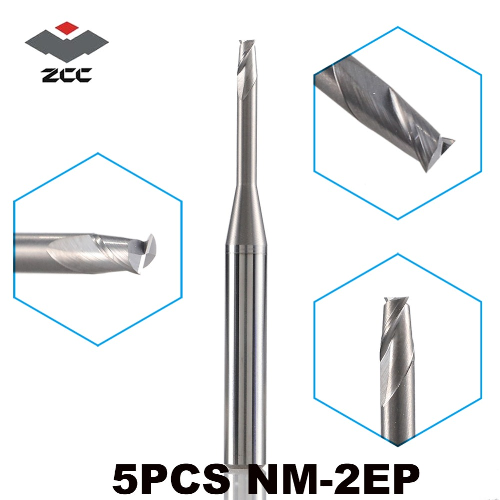 5PCS/LOT ZCC.CT NM-2EP D0.5-D5.0 M04-M25  2 Flute Flattened Solid Carbide Micro End Mill For Copper CNC Milling Cutter Mix Item