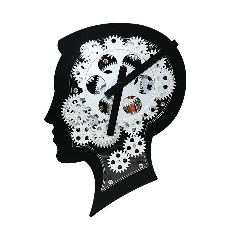 ABFP HY - G108 Wonderful Brain Model Wall Clock Mechanical Gear Dynamic Design - BLACK