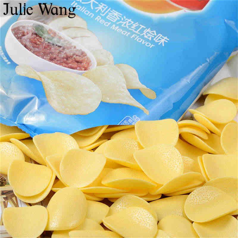 جولي وانغ 10 قطعة أوراق طعام صناعية من الراتينج رقائق البطاطس معلّقات خرز مجوهرات أكسسوارات تزيين طاولة المنزل
