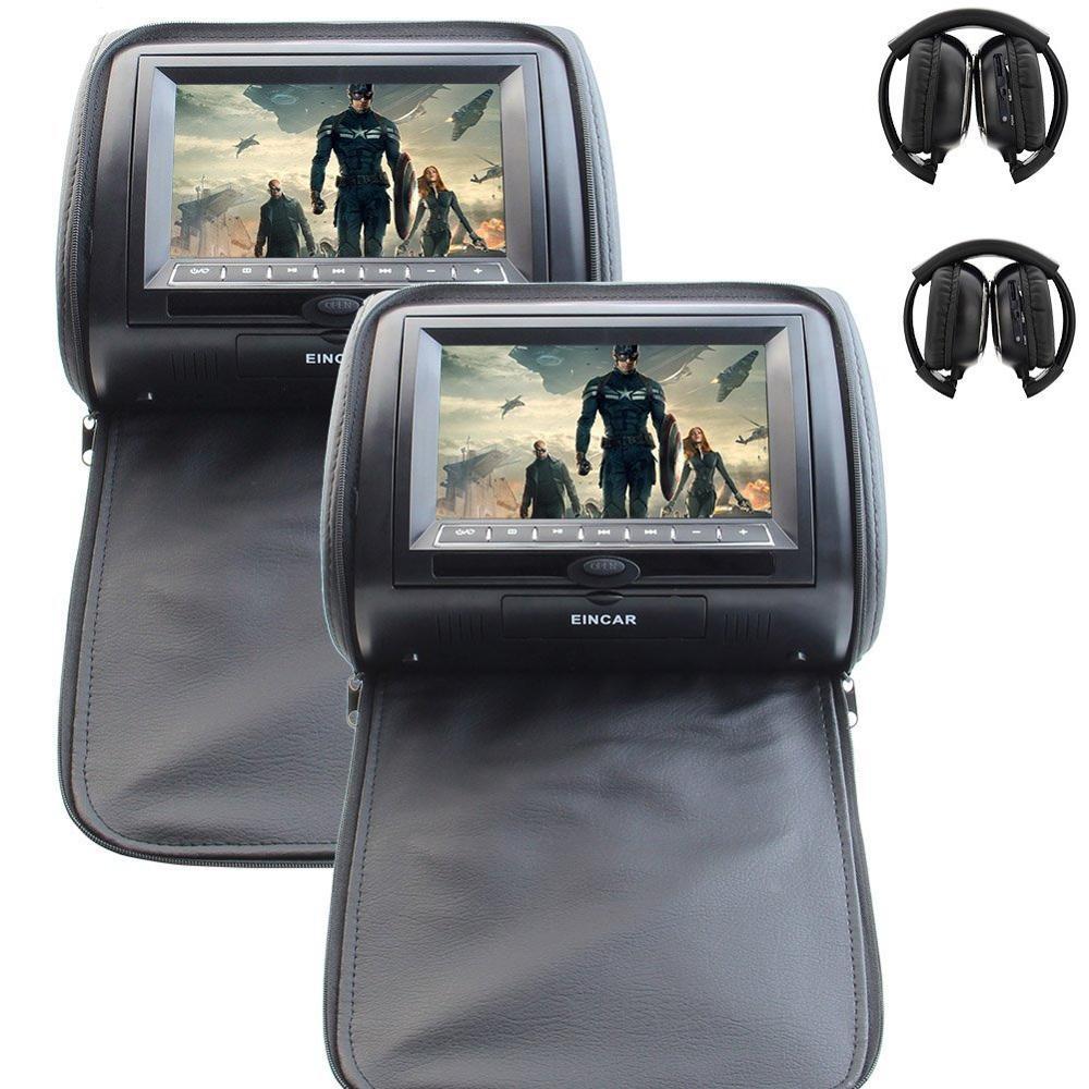 Eincar мониторы 2x7 HD цифровой Панель кожаный чехол подголовник автомобиля подушки dvd плееры с молнией Дизайн HDMI порты и разъёмы + 2 шт. наушники