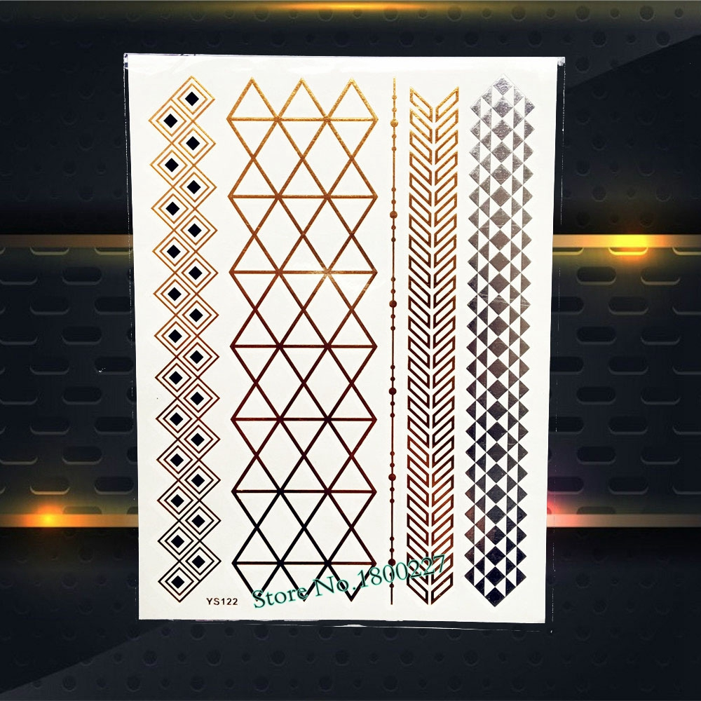 Fashion Flash Gold Silver Tattoo Diamond Grid Pattern Bracelet Design Waterproof Arm Leg Jewelry Temporary Tattoo Sticker PYS122