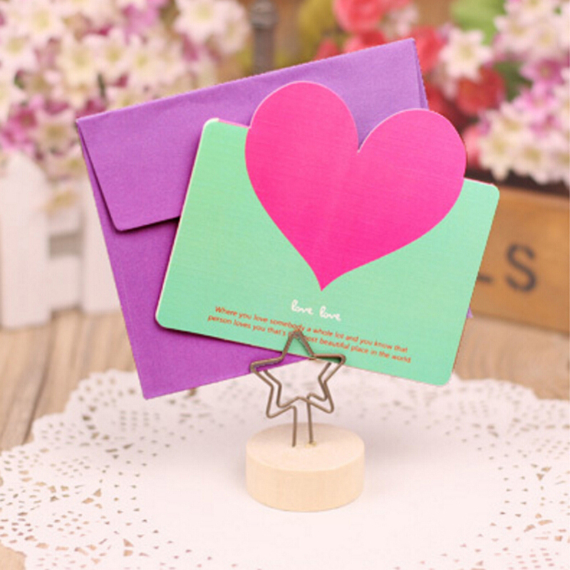 New Fashion 30pcs Heart Shape Birthday Greeting Cards With Envelope Creative Cards Blessings Love Heart Wedding Greeting Card