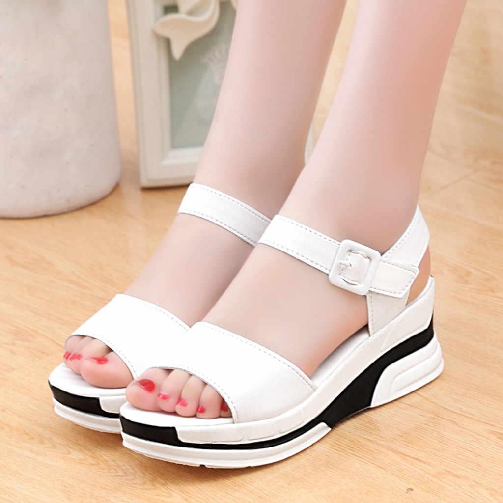 SAGACE ฤดูร้อนรองเท้าแตะแพลตฟอร์มสตรีแพลตฟอร์ม Wedge รองเท้าแตะฤดูร้อนรองเท้าผู้หญิง Wedge สายคล้องคอรองเท้าแตะ