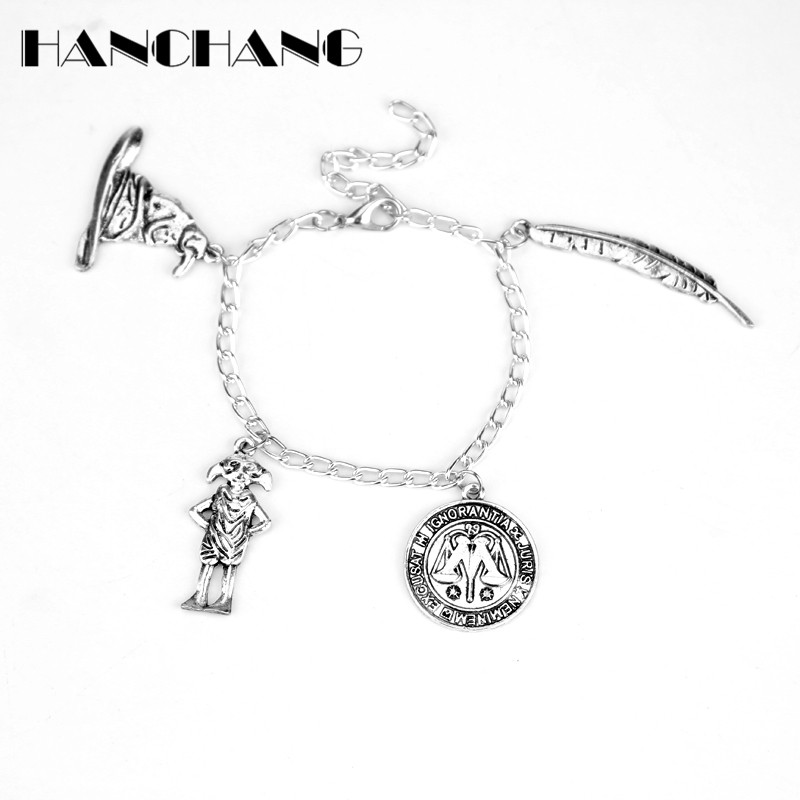 Movie Jewelry Dobby Magic Hat Feather Pen Bracelets for Women Vintage Punk Wristbands Bangles for Gifts