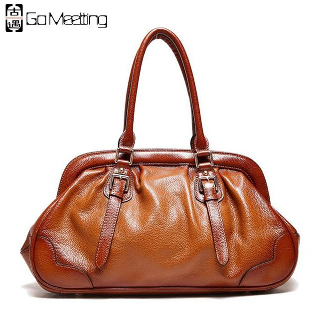 Go Meetting Brand Design Genuine Leather Women's Handbags Cow Leather Women Top-Handle Bags High Quality Vintage Handbag Totes