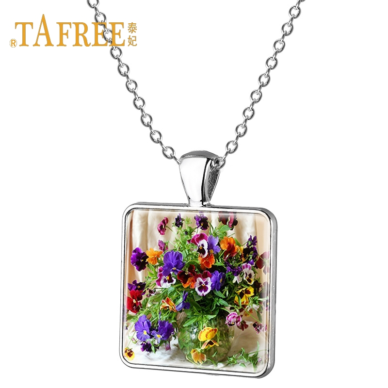 New Lady Cat in Purple Floral Hat Cabochon Pendant Necklace Feline Fashion Gift