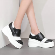 Casual Shoes Womens Cow Leather Wedges High Heel Evening Pumps Low Top Punk Creepers Slip On Platform Oxofrds Tennis