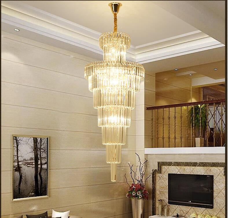 Free Shipping Modern Golden Luxury Crystal Chandelier K9 Crystal For Staircase Hotel Lobby Double Floor Crystal D60cm LED Lamp free shipping d450mm luxury k9 crystal chandelier lamp k9 golden crystal hotel hall light led crystal pendant 100