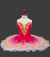 女の子ゴールドベルベットバレエチュチュ子白鳥の湖衣装赤子供パンケーキチュチュガールズダンスウェア