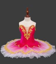หญิงทองกำมะหยี่บัลเล่ต์ Tutu เด็ก Swan Lake เครื่องแต่งกายบัลเล่ต์สีแดงชุดเด็กแพนเค้ก Tutu หญิง Dancewear