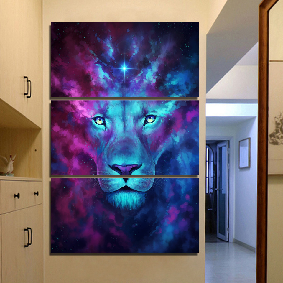 JIE DO ART 3 piece canvas art Psychedelic Lion Home Decoration Wall Pictures For Bedroom title=