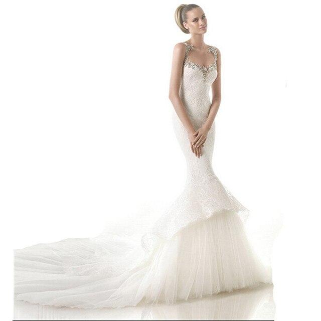 Custom wedding dress spaghetti straps sleeveless crystal ornaments ...