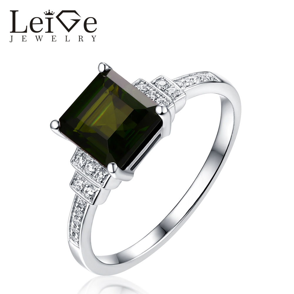 Leige Jewelry Dark Green Diopside Ring Sterling Silver Square Cut  Anniversary Promise Rings for Women Romantic Christmas GiftLeige Jewelry Dark Green Diopside Ring Sterling Silver Square Cut  Anniversary Promise Rings for Women Romantic Christmas Gift