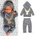 2017 комплект одежды Младенца Мальчик Девочка с длинным рукавом Дети толстовка с капюшоном + брюки Infantil bebe одежда набор малышей ткань верхняя одежда пальто