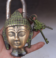 Buddhism Bronze Shakyamuni Sakyamuni Buddha Head Statue lock up Key Free shipping