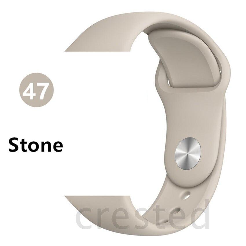 Силиконовый ремешок для apple watch 4 5 44 мм/40 мм спортивный ремешки для apple watch 3 42 мм/38 мм резиновый ремень браслет ремешок для часов apple watch Band Мягкий красочный ремешок iwatch series 4 3 2 1 - Цвет ремешка: Stone