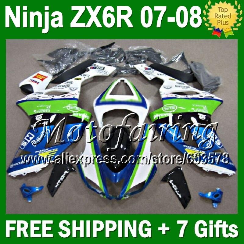 Carenagem + 7gifts Para KAWASAKI NINJA 7 ZX6R 07 QUENTE-08 ZX-6R ZX636 10JM15 6R ZX 636 ZX-636 Verde 07 08 azul branco 2007 2008 Carroçaria