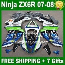 Лидер продаж, обтекателя + 7 подарки для KAWASAKI NINJA ZX6R 07-08 зеленый ZX-6R ZX636 10JM15 ZX 6R 636 ZX-636 07 08 синий белый 2007 2008 Кузов