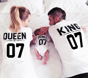 100% Cotton Matching T shirt King 07 Queen 07 Prince Princess Newborn Letter Print Shirts,Couples Leisure Short Sleeve O neck T-(China)