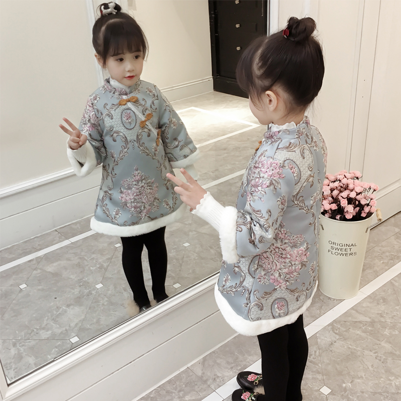 2018 Chinese blue and white porcelain embroidery Girls Dress baby winter thickening cheongsam dress kids Plush dress,2 6Y,#2451