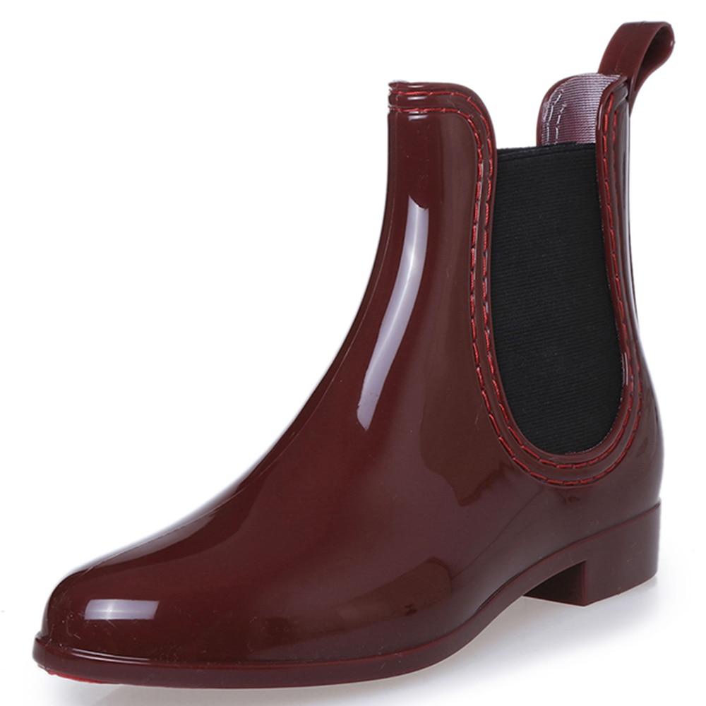 Mwsc Fashion Platform Rain Boots Ladies Rubber Ankle Rainboots Low Heels Women Slip On Pumps