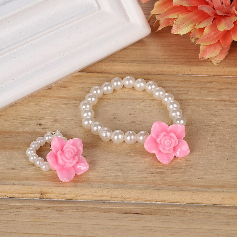 Children Cute Simulated Pearl Chain Pendant Necklace/Ring/Bracelet Rose Flower Charm Bracelet Kids Lovely Jewelry Sets 1