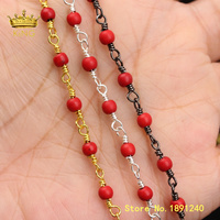 5meters Wholesale Red Turquoises Howlite Round Beads Rosary Chain Findings for Jewelry Beaded Body Chains Supplies Charms ZJ360