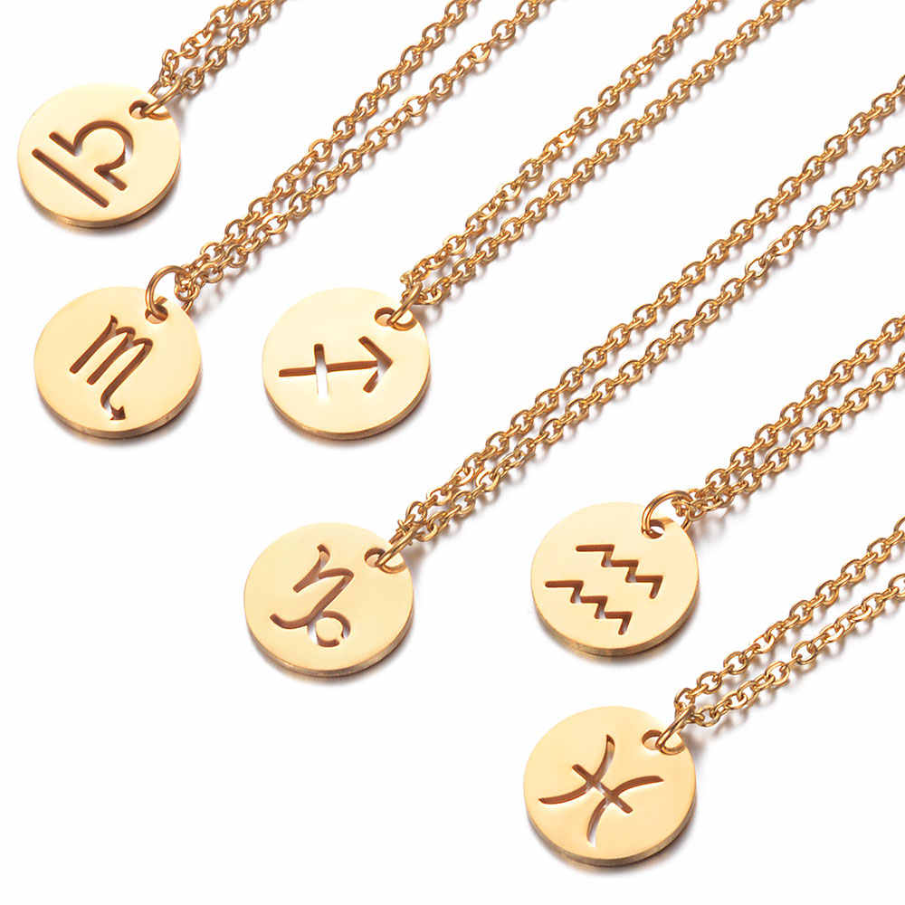 Gold Constellations Choker Fashion Round Zodiac Pendant Necklace 316L Stainless Steel 40+5cm Chain Twelve Zodiac Jewelry