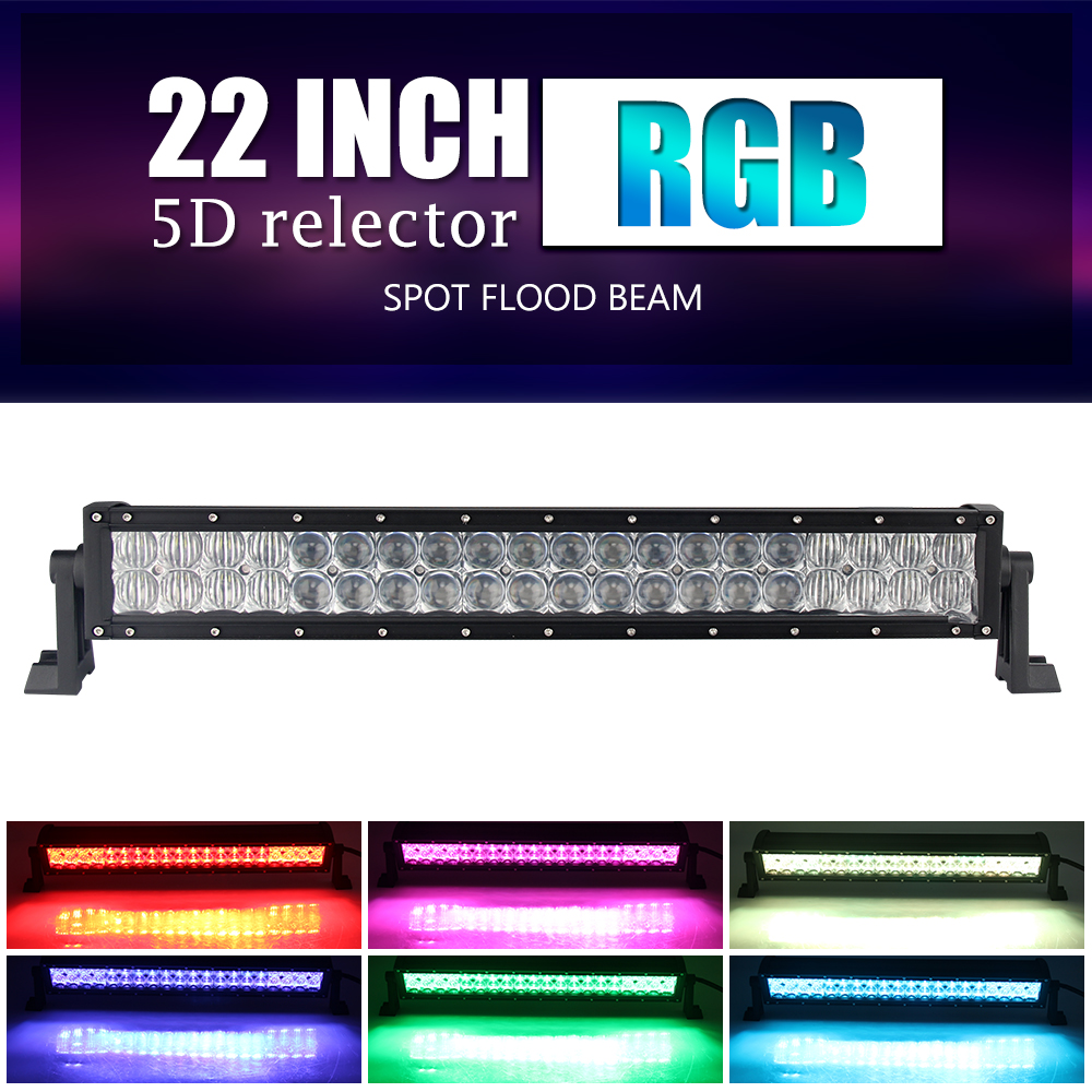 CO LIGHT 22 120W Offroad LED Light Bar 5D RGB Combo LED Work Light Bar For 4x4 4WD SUV ATV Truck Trailer Auto Driving LED Bar diy 5v 2a voltage regulator junction box solar panel charger special kit