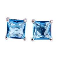 JROSE Art Deco Wedding Jewelry Blue Topaz 925 Silver Stud Earrings Free Shipping Wholesale Princess Cut Fashion Gift For Women