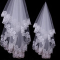 2016 Hot Sale One layer Bridal Wedding Veil White Ivory Bridal Accessories With Appliques Cheap Wedding Accessories zfy1038