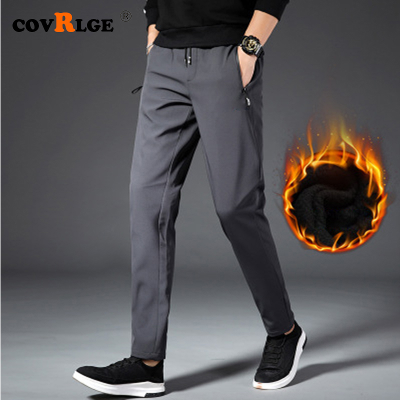 Covrlge Winter Men's Pants Thick Lambskin Pants For Men Sports Trousers 2019 Fashion Trousers Streetwear MKX045