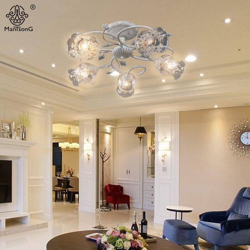 Vintage Flower Ceiling Lights for Living Room Classical E14 Bulbs ...