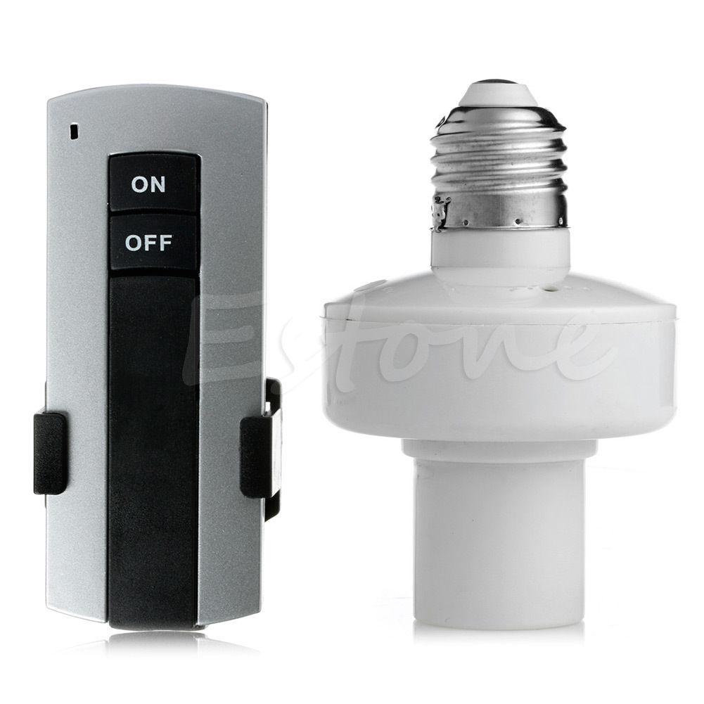 Wireless Remote Control E27 Screw Lamp Bulb Holder Cap Light Socket Switch New e27 wireless remote control switch light bulb socket white ac 110 220v