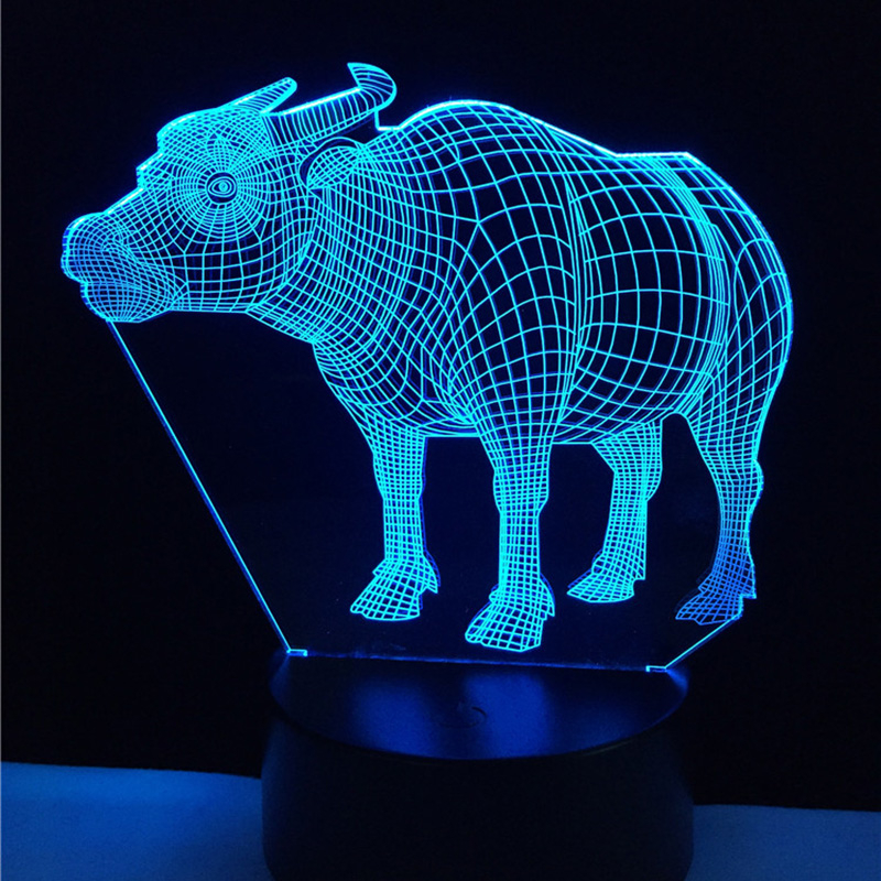 Acrylic 7 Color Changing buffalo 3D LED nightlight of bedroom lamp livingroom lights des ...