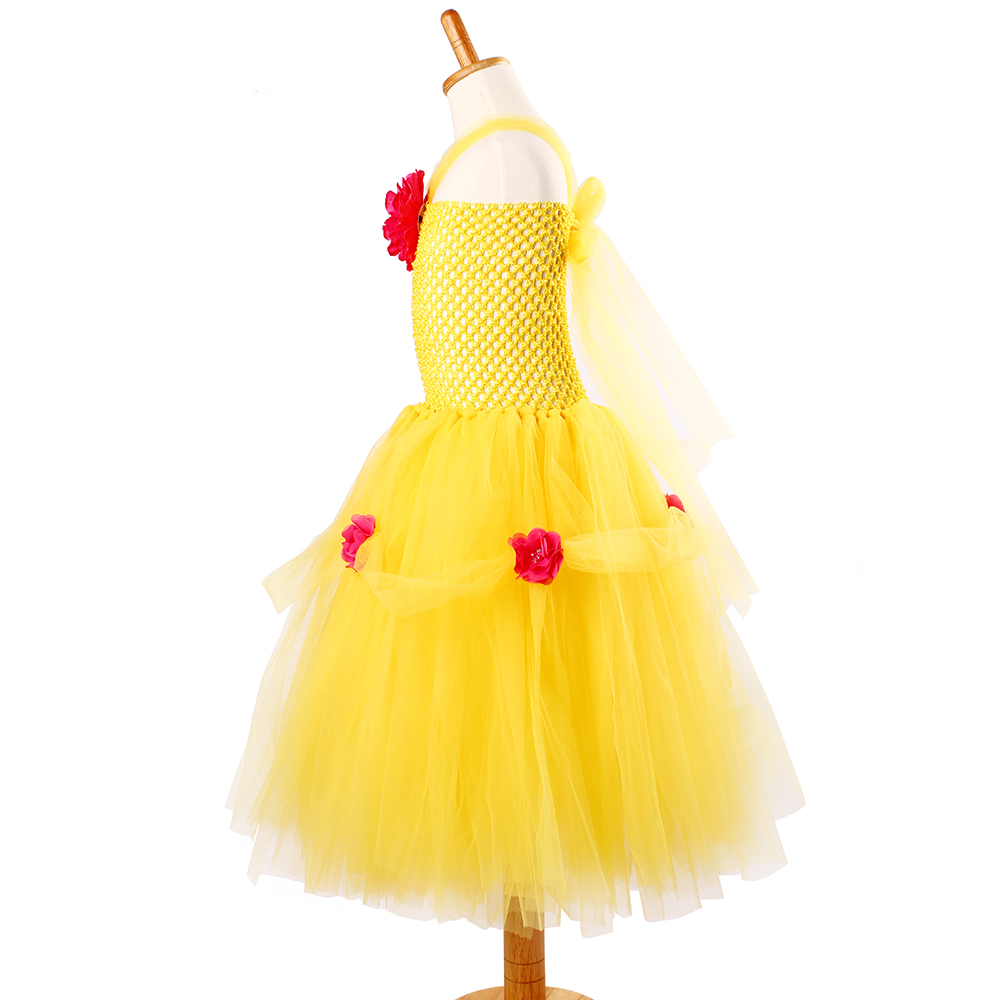 Yellow Princess Belle Tutu Dress The Beauty and the Beast Inspired Girls Birthday Party Dress Kids Photo Cosplay Costumes Vestidos (2)