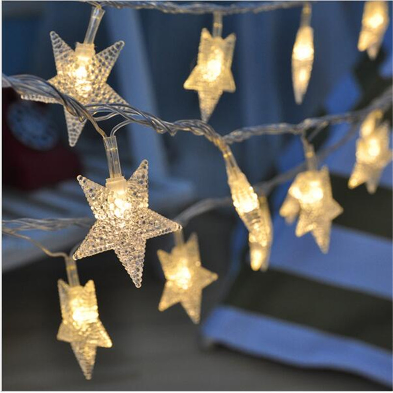 5M 28LED Star Fairy Garland String Lights Novelty For New Year Christmas Wedding Home Indoor Decoration EU US plug operated фонарь brennenstuhl 28led 1175340
