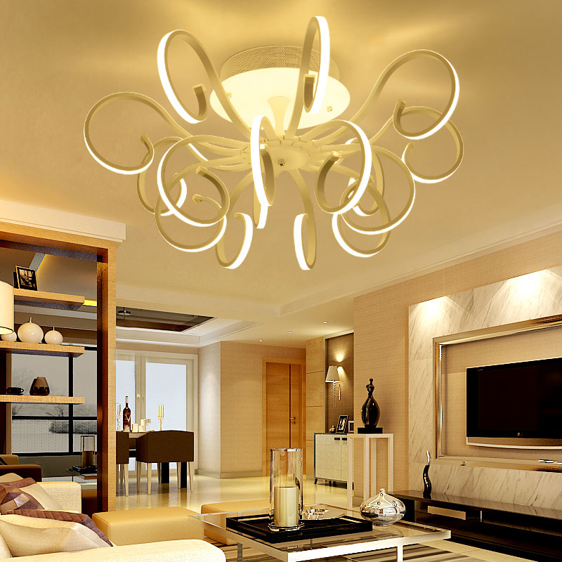 Modern LED Ceiling Light Ribbon Style Acrylic Shade With Butterfly Kitchen Bedroom Living Room Plafon Lighting