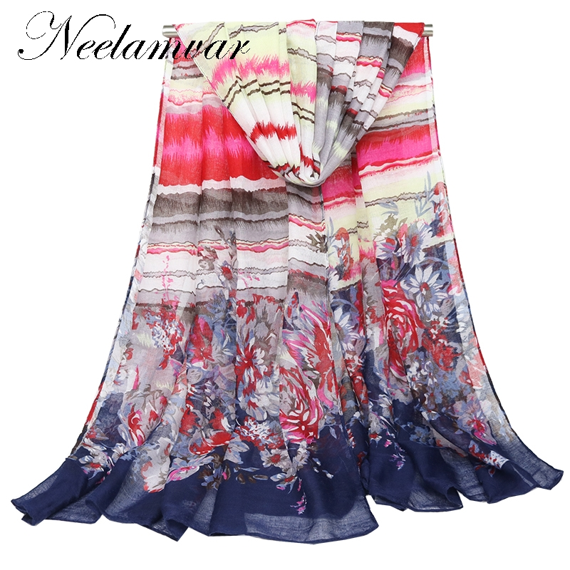Neelamvar 2018 New Special Print Adult Thin Long Design Cotton Scarf Womens Autumn And Winter Oversized Beach voileTowel