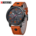 Marca de moda relógio de quartzo homens pulseira de couro relógio de pulso esporte militar Relogio masculino montre homme Curren 8192