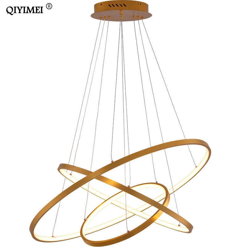 Modern pendant lights for living room foyer room 1/2/3 Circle Rings acrylic aluminum body LED Pendant Lamp fixtures home dero