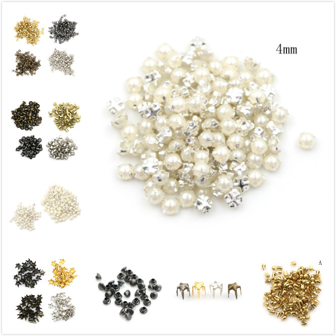 100 pièces artisanat 3/4MM perle boucle 2/2. 5/5mm boucles 4mm champignon clou trompette Rivets bricolage Patchwork accessoires de couture (lot de 100)