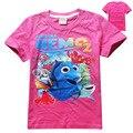 Девушка одежда Детская футболка хлопок короткий рукав футболки с Поиск Dory мультфильм летние девушки одежда новый 2017