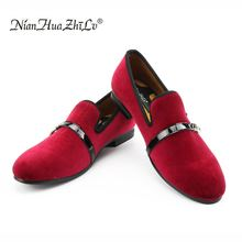 New fashion red shoes men velvet loafers Breathable Men's party and Wedding Shoes italian men's dress shoes handmade loafers