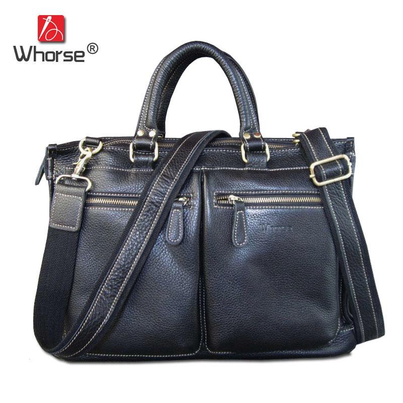 Brand Handmade Genuine Leather Briefcase Bags Men Real Cowhide Business Laptop 14 15 Mens Shoulder Messenger Bag Handbag Black