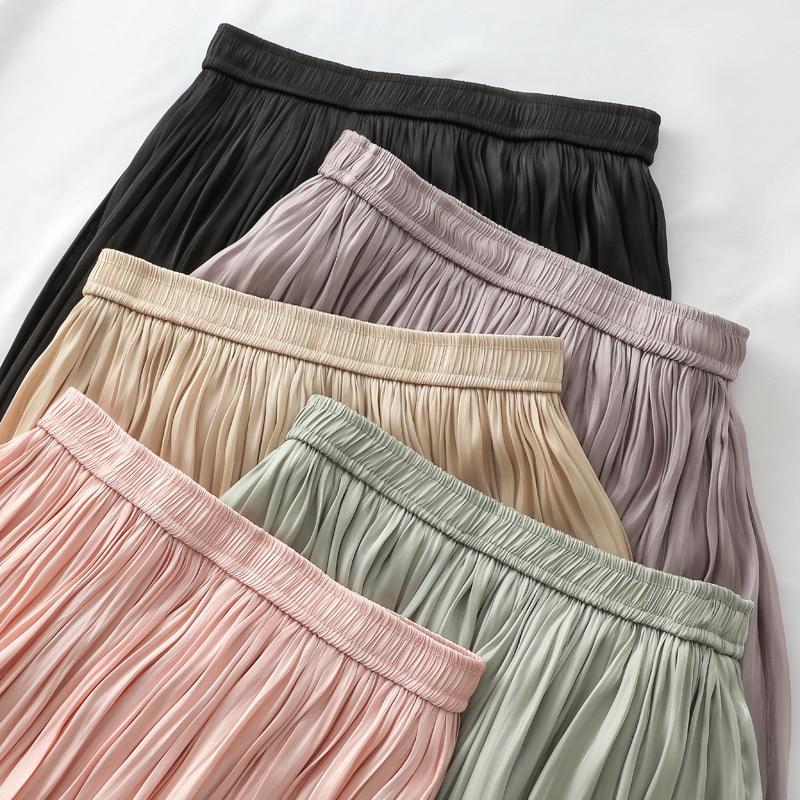 Mercerizing Texture Crimp Pleated Spring Xia Xinkuan Flash Of Light High Waist Half-body Leisurely Type Skirt 2